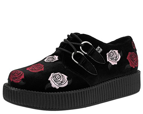 T.U.K. Shoes Women's Snake & Roses Velvet High Sole Creeper Brown & Multi Colour