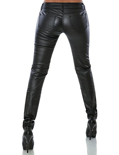 Damen Hose Kunstlederhose Skinny Röhre (weitere Farben) No 14258 Schwarz