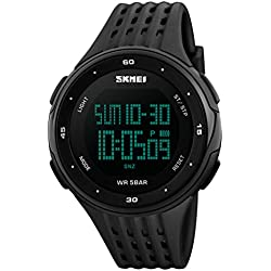 Men's Digital Watch Military Sports Watches for Men, Big Face Rubber Strap Black 50M Waterproof by FunkyTop