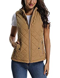 MISS MOLY Women's Stand Collar Lightweight Quilted Vest Jacket