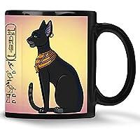 Bastet Katze Tasse mit Katzenmotiv weiß schwarz personalisiert mit Name in Hieroglyphen
