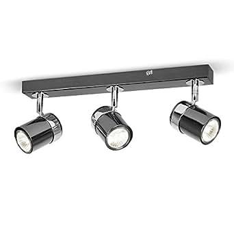 Modern Energy Saving 3 Way Black & Chrome Straight Bar Ceiling Spotlight - Supplied With 3 x 35w GU10 Halogen Bulbs