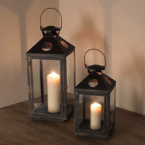 Multistore 2002 2tlg. Laternen-Set H39/56cm, Schwarz/Gold, Laterne Gartenlaterne Kerzenhalter Gartenbeleuchtung Windlicht