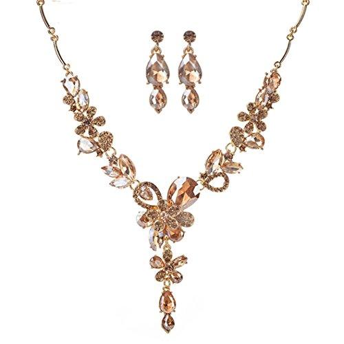 Damen Schmuck Set, DOLDOA Mode Crystal Kristall Halskette Ohrringe Brautschmuck Set Elegant...