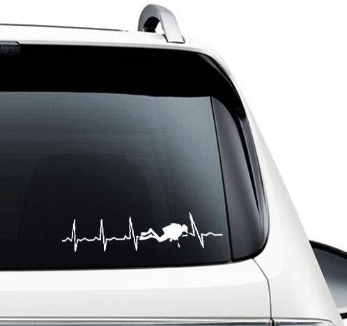 SUPERSTICKI Herzschlag Heartbeat Taucher tauchen Diving 25cm Aufkleber,Autoaufkleber,Sticker,Decal,Wandtattoo, aus Hochleistungsfolie,UV&waschanlagenfest,