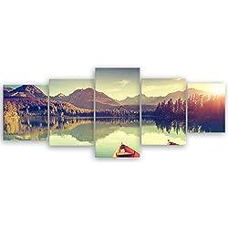 ge Bildet® hochwertiges Leinwandbild XXL - Tatra Nationalpark in der Slowakei - 200 x 80 cm mehrteilig (5 teilig)