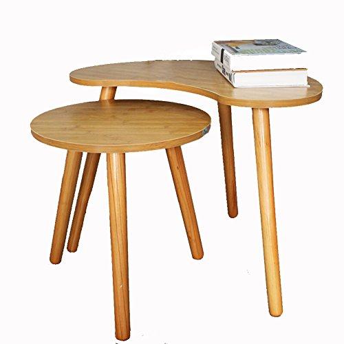 Full Love House Table d'appoint Table basse Table d'angle Etagère de rangement Creative Bois massif Protection de l'environnement Simple Mode Avec rangement Couleur bambou