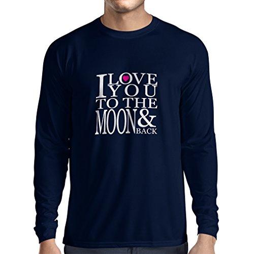 T-Shirt mit langen Ärmeln Ich liebe dich zum Mond und zurück zu lieben T-Shirt, große Valentinstag Geschenk Blau Weiß