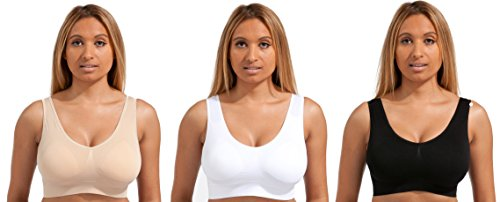 3 x Set ®-Dream Beauty BH, nahtlos, komfortabel, nahtlos, den ultimativen Komfort Bra. Sport Stretch für Komfort Aktion Freizeit dicker Stoff-Black.White.Tan Premium Qualität Black/White/Nude M (Komfort-sport-bh Aktion)