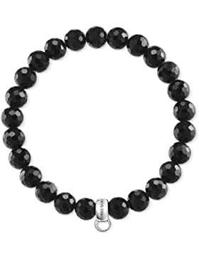 Thomas Sabo Damen-Armband Charm Club 925 Sterling Silber Obsidian Schwarz Länge 17.5 cm X0220-840-11-L17,5