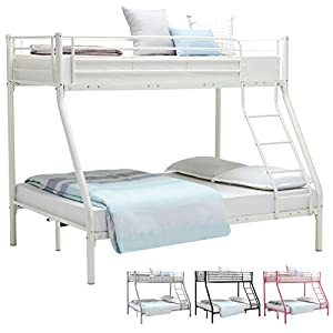 "UEnjoy Metal Bunk Beds 3FT Single 4FT6 Double Triple Sleeper Bed for Adult and Children Kids(White 75.2""*52""*65.4"" / 191L*90-132W*166Hcm )"