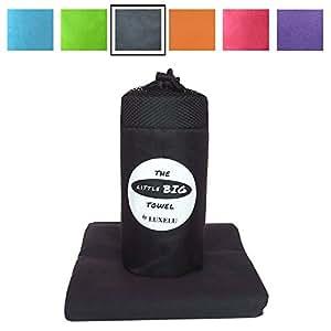 MINI LUXURY MICROFIBRE TOWEL in 4 High Fashion Colours - 130cm x 70cm - Quick Dry Towel for Beach, Camp, Travel, Gym, Golf, Yoga, Swim, Sport - LITTLE BIG Towels (Grey)