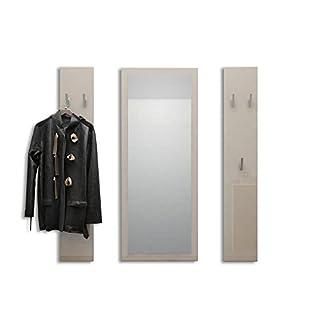 Vladon Garderobenset Garderobe Spot in Sandgrau Hochglanz