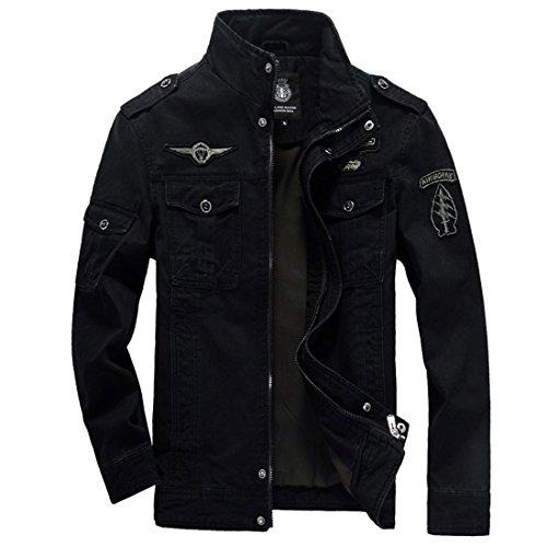 GWELL Herren Jacke Fliegerjacke Übergangsjacke Bomberjacke Militär Piloten Jacket für Winter Herbst Frühling Schwarz XL