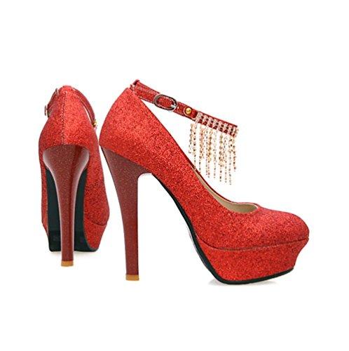 Heart&M delle donne sposa Bling nappe strass 12cm altezza piattaforme dei talloni Round-toe scarpe da sposa sandali Red