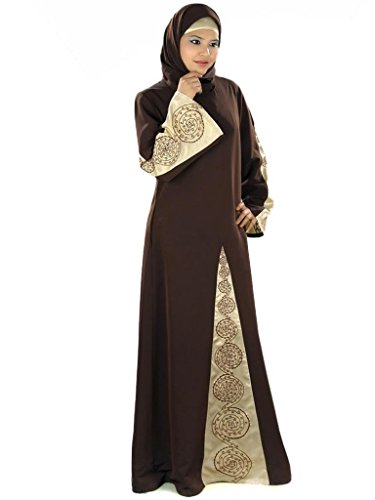 MyBatua Women's Kashibo Abaya (AY293_Brown_Medium)