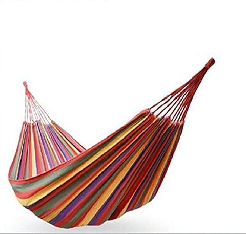 Lqabw extérieur double Grande taille 100% coton épaissir Toile Tissu Tissu durable coloré de voyage Hamac 190x 130cm