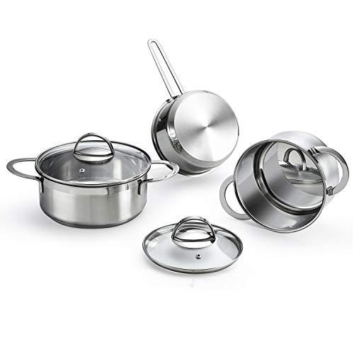 Eono by Amazon - Batería de cocina de 5 piezas para inducción de acero, acabado de espejo...