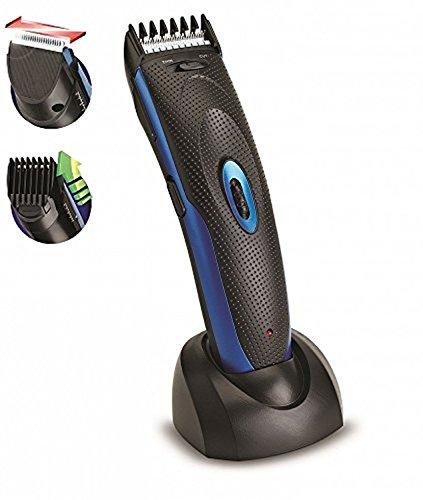 Akku Haarschneider | Bartschneider | Haatrimmer | Barttrimmer | Trimmer | Langhaarschneider | Haarschneidemaschine | Ausdünnfunktion | 1mm-24mm Längen | Netz oder Akkubetrieb | Blau + Haltestation
