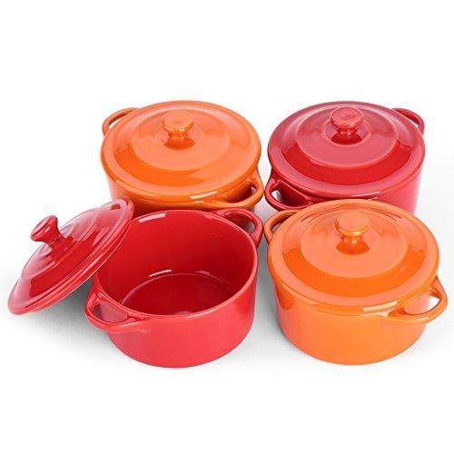 lifver Arbeitshemd Keramik Soufflé Auflaufform/Mini Schmortopf/Souffléförmchen, Dip bowls-4Packungen, Cherry rot und orange, rund. Orange Ramekin