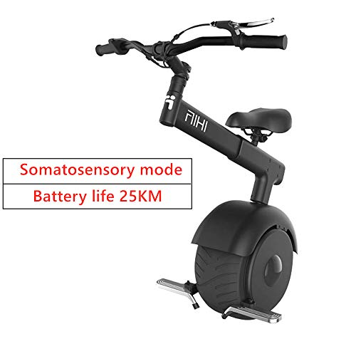 San Qing Electric Unicycle Balance Car, Somatosensory and Throttle E-Scooter, 800w Motor Power 15km / H, Gyroroue Unisex Adult, Black and White,Black,Eatterylife50KM
