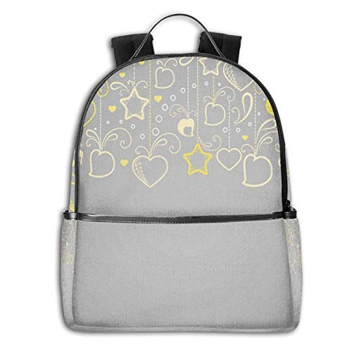 College School Backpacks,Ethnic Christmas Themed Ornament Holiday Hearts and Flowers,Casual Hiking Travel Daypack -