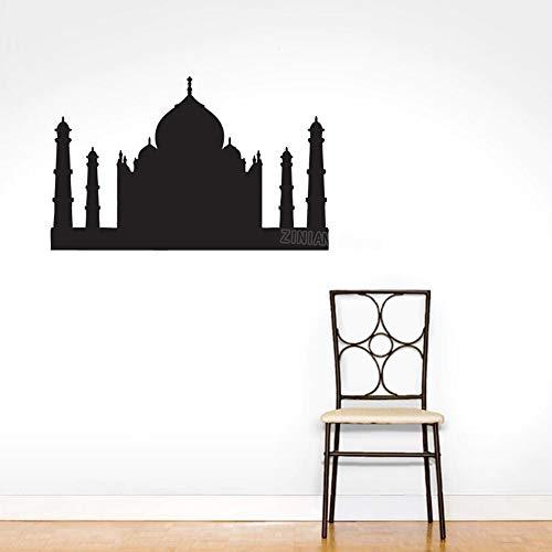guijiumai Taj Mahal Silhouette Wandtattoo Wohnzimmer Schlafzimmer Wanddekoration Indien Eigenschaften Kunst Aufkleber Poster Landmark Wallpaper Hellrosa 58X40 cm