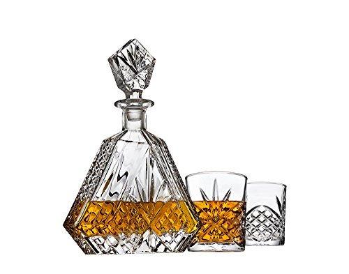 Dekanter-Set für Whiskey Whisky Scotch Bourbon oder Wein, inkl. 2Glas Whisky Gläser-Irish Schnitt dreieckig (Irish Dekanter-set)