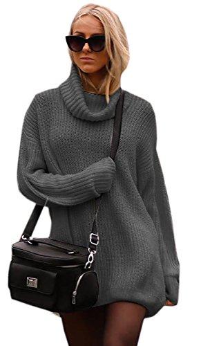 Damen Strickpullover Fashionable Sweater mit Rollkragen Pullover Kuscheliger Jumper Strick Pulli Oversize (648) (Graphite)