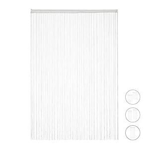 Relaxdays weiß, Fadenvorhang, kürzbar, mit Tunneldurchzug, für Türen & Fenster, waschbar, Fadengardine, 90×245 cm, White…
