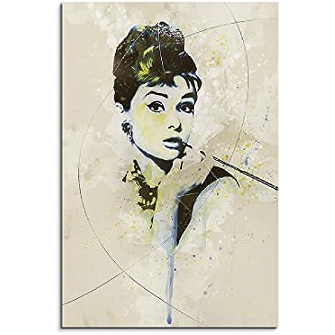 Paul Sinus Art Audrey _ Hepburn _ II _ Aqua _ 90x 60cm–cuadro de lienzo, 90x 50x 3cm), multicolor