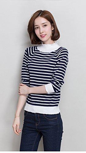Gestreifte Pullover Frauen Semi-Hochkragen Decke Langarm Korean Hot Slim, blau gestreift, XXL (Pullover Gestreifte Asymmetrisch)
