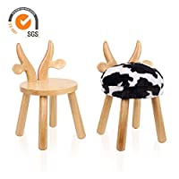 Outwin Animal Stool Chair for Children Kids Wooden Chair with Soft Cushion and Backrest for Christmas and Birthday Present (Cow)