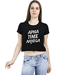 97eab48aa2f03d DrunkenMonk Apna Time Aayega Women s Black Half Sleeve Hindi Movie Crop Top