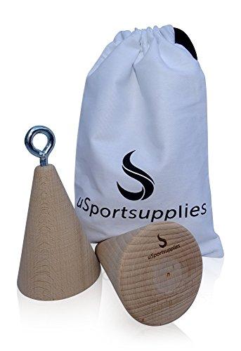 uSportsupplies Trainingsgriffe für mehr Griff- und Greifkraft - Kegel/Holz 2er Set für das optimale Kletter-, Unterarm- und Fitnesstraining - inkl. Aufbewahrungsbeutel