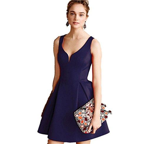 JOTHIN 2017 Damen V-ausschnitt Einfarbige Kleid Frauen Loose A-linien Kleider Knielang Rückenfreie Ballkleid Dunkelblau