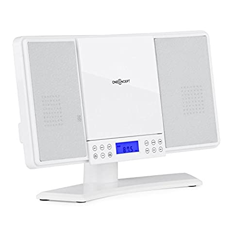 oneConcept V14 Stereoanlage Musikanlage Vertikalanlage (LCD Display, Fernbedienung, Wecker, CD, MP3, UKW Radiotuner, AUX, inkl. Montagematerial für Wandmontage)