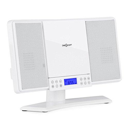 Oneconcept V14 • mini impianto stereo compatto • lettore CD MP3 • radio VHF • 20 stazioni • display LCD • AUX • sveglia • orologio • pannello touch • telecomando • montaggio parete • bianco