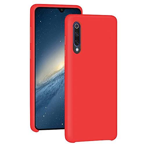 Funda para Xiaomi Mi 9/Mi 9 SE Teléfono Móvil Silicona Liquida Bumper Case y Flexible Scratchproof Ultra Slim Anti-Rasguño Protectora Caso (Red, Xiaomi Mi 9 SE)