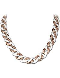 Amello Edelstahl Halskette Keramikschmuck weiß - Halskette Panzerkette rosevergoldet für Damen Edelstahlschmuck Stainless Steel ESKX20W0