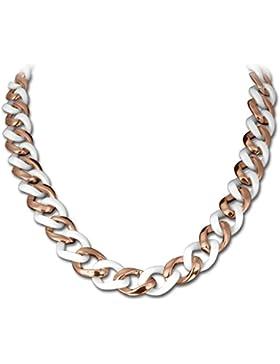 Amello Edelstahl Halskette Keramikschmuck weiß - Halskette Panzerkette rosevergoldet für Damen Edelstahlschmuck...