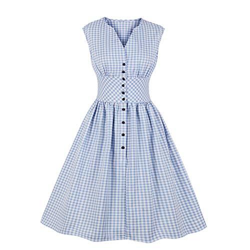 Wellwits Vestido de té Vintage de los años 50 con Botones Florales y Cuello Dividido para Mujer - Azul - 36/38
