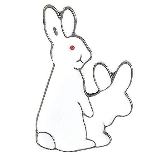 JXtong2 Spilla Spilla Coniglio Bianco Evil Animale Coniglietto Smalto Spille Fibbia in Metallo Spilla per Camicetta Borsa Borsa...