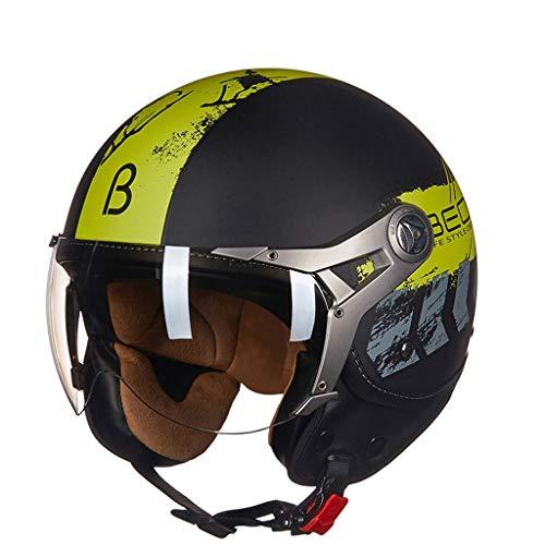 ZJJ Helm- Halbüberdachter Helm, Unisex-Helm, Regen- und UV-Schutzhelm, Leichte versilberte Kurze Linse (Farbe : Gelb, größe : M)