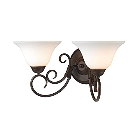 Golden Lighting 8606-BA2 RBZ-OP Homestead - Two Light Bath Vanity, Rubbed Bronze Finish with Opal Glass