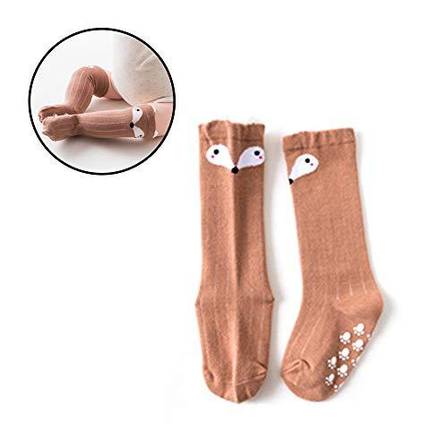 Hilai Baby Girls Cartoon Animal Fox Baumwolle Knie hohe Strümpfe Boden Socken geeignet für Das Alter 0-1 (Fuchs) -
