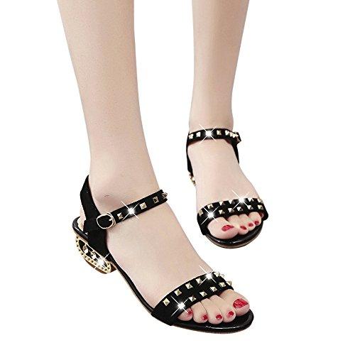 al Sandalen Weiblich Ziemlich Rivet Dekoration Med-Heels Outdoor Schuhe Transparente Starke Ferse Hochhackige Schuhe Sandalen (38, Schwarz) (Ziemlich Casual Kleider)