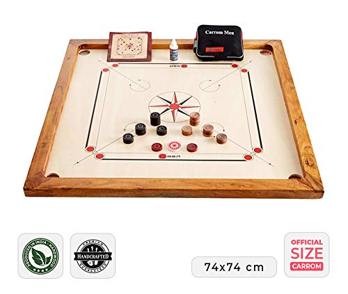 Ubergames Carrom Board Set offizielle Größe 7 kg - Top ECO-Hartholz Qualität - Komplettes Set mit Offiziellen Scheiben und Pulver