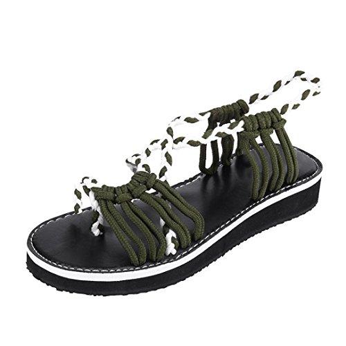 ❤️ Familizo 2018 New Women's Flat Sandals Summer Clip Toe Flip Flops Thongs Bohemian Style Beach Shoes Wedge Heels Open Toe Braided Casual Shoes Walking Vacation (UK:5, Army Green)