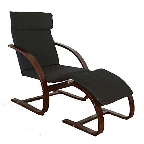 Homestyle4u Swing Sessel mit Hocker, Schwarz/Dunkelbraun, Mittel